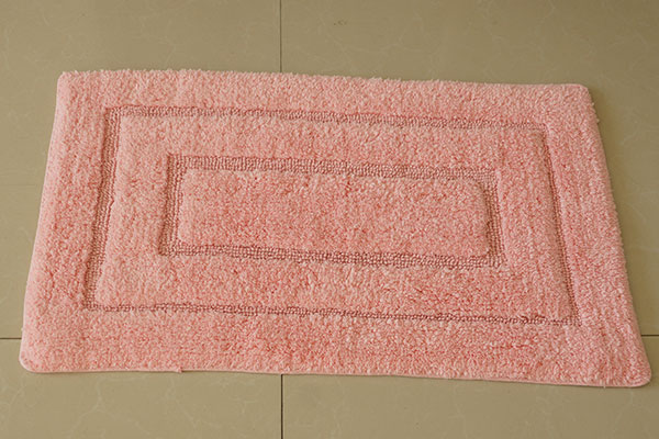 Custom anti-slip pink 100% cotton bath rug wholesale