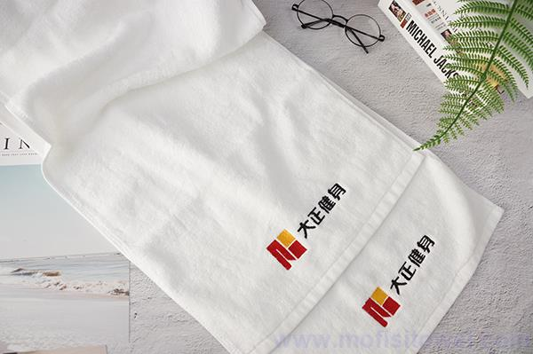 Cotton plain with logo exercise towel for fitness centre use