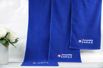 Gym towel wholesale deep blue hand towels with own logo