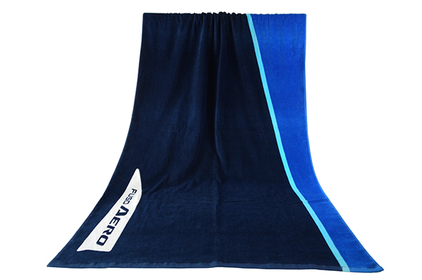 Customized velour printed blue beach towels with logo