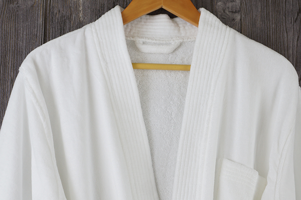 100% Cotton velour hotel bathrobe kimono collar