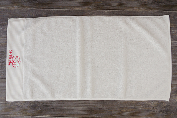 100 Cotton White Hand Towel Dobby Desgin With Embroidery Logo