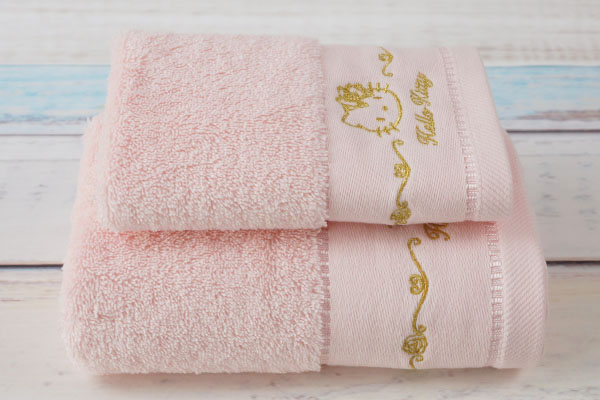 Child Pink towel sets,cute embroidery pattern for gift towel