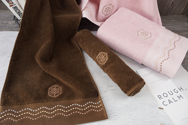 Unique Flower Dobby Towels 100% Cotton Hand Towel with  logo