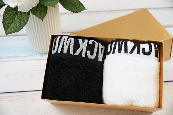 100% cotton solid white/ black gift hand towels embossed logo with dobby