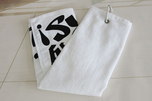 Wholesale cheap golf towel hooks and clip, solid color with printing design