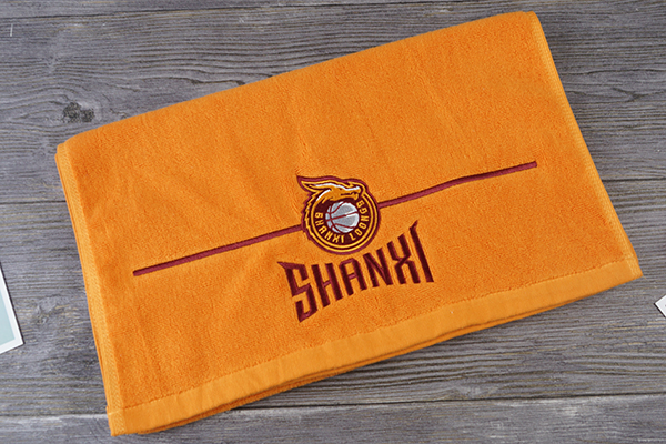 Wholesale Dyed Orange Color Towel Custom Logo 500GSM