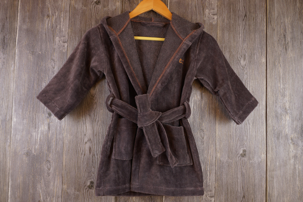 100% Cotton Velour Solid Grey and Super Soft Children Bathrobe