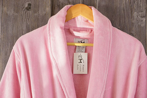 Velour pink 100% cotton bathrobe for ladies