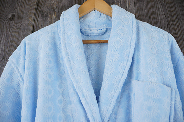 Sunflower jacquard pattern velour cotton bathrobe shawl collar