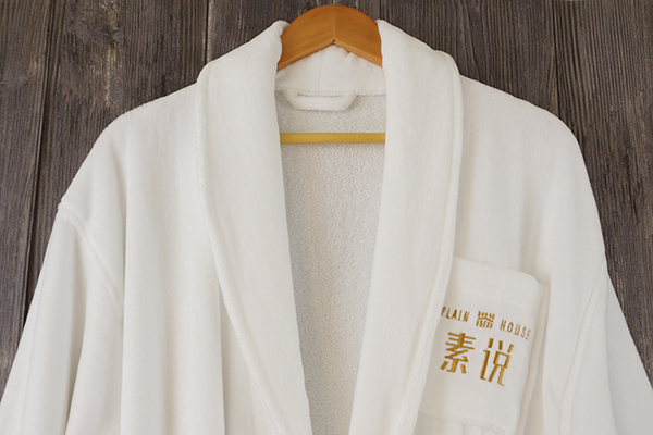 Shawl collar bathrobe 100% cotton white robe with embroidery