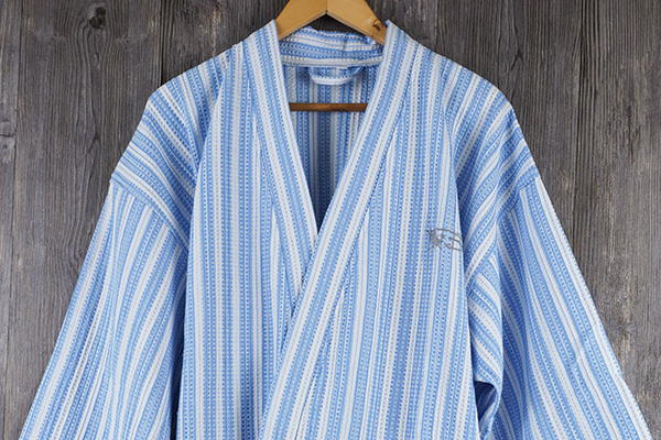 Stripe adult bathrobe 100% cotton waffle robe for bathroom robe