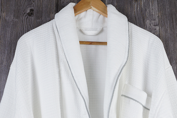 Luxury 5 star hotel bathrobe waffle combined 100% cotton cloth