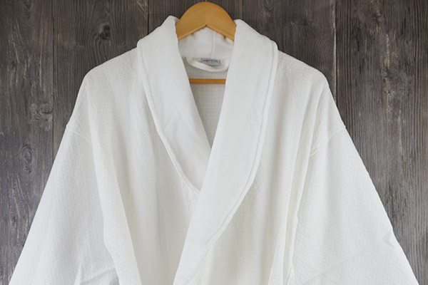 Hotel Waffle Bathrobe Shawl Neckline Robes Bath Gown