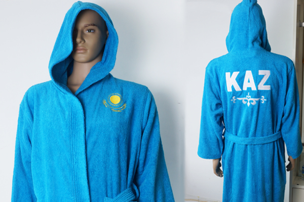 Wholesale Terry Bath Robe 100% Cotton Blue Bathrobe with hat