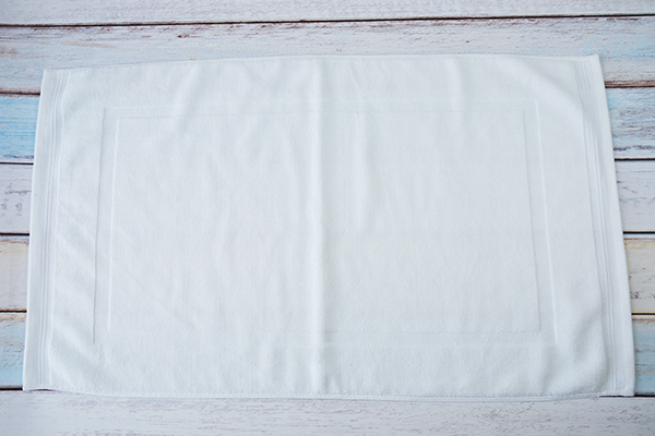 100% Cotton Hotel Bathroom Non-Slip Thin White Hotel Bath Mat