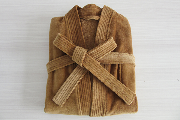 Luxury 100% Cotton Brown Kimono Neckline Velour Terry  Bathrobe