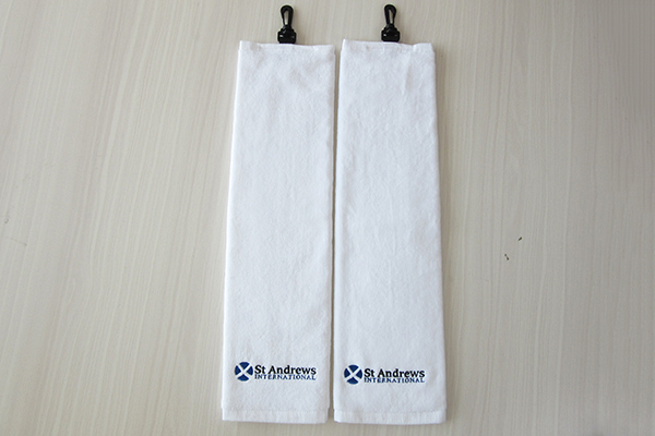 Wholesale 100% Cotton 15*21 Inches White Golf Towel with Logo