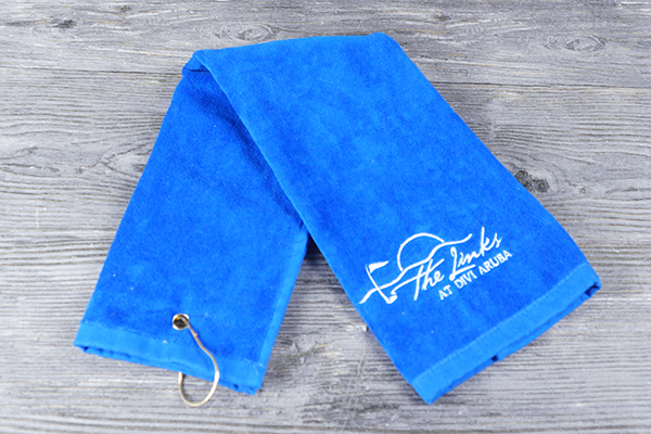 Wholesale blue hand towel velvet pile golf towels with clip