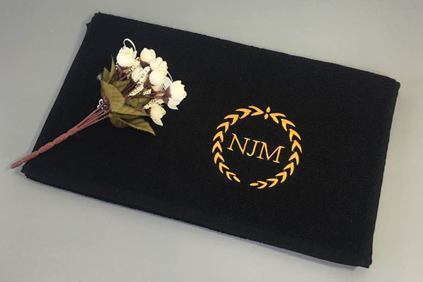 Custom Gold Embroidery Logo Sport Gym Black Hand Towel
